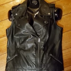 Maurices Faux Leather Black Zippered Vest